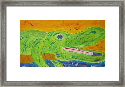 Gator In Bloom Framed Print by Yshua The Painter