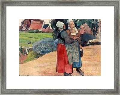 Gauguin: Breton Women, 1894 Framed Print by Granger