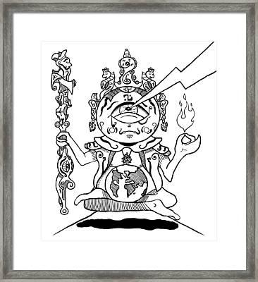 Gautama Buddha Black And White Framed Print