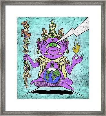 Gautama Buddha Colour Illustration Framed Print