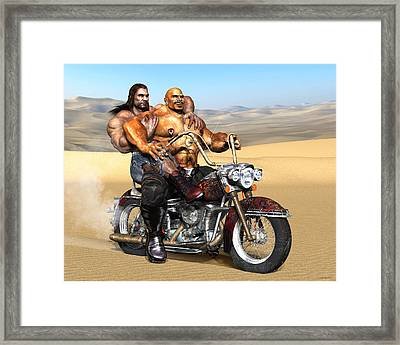 Gay Biker Art Motorcycle Bear Pride Bodybuilder Skinhead Nude Naked Male Painting Vykkurt Framed Print by    Vykkurt