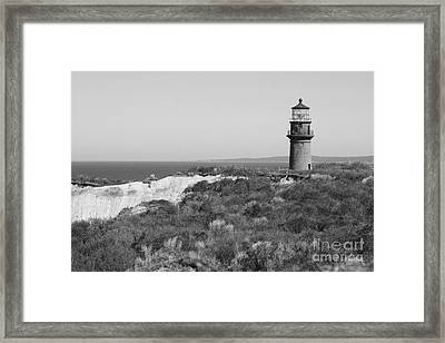 Gay Head Lighthouse - Black And White Framed Print