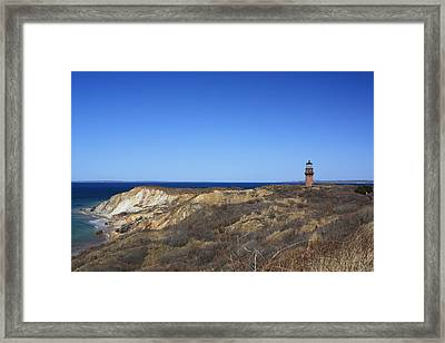 Framed Print featuring the photograph Gay Head Lighthouse And Cliffs by Greg DeBeck