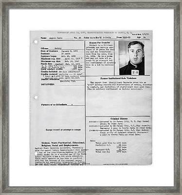 Gay History - Transferred To Alcatraz For Sodomy Framed Print by Daniel Hagerman
