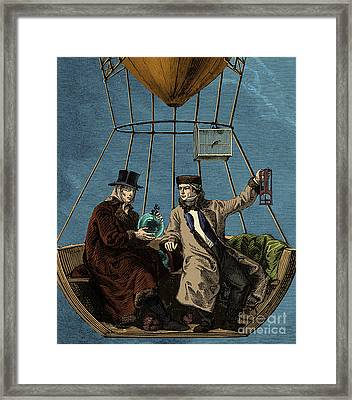 Gay-lussac And Biot In Hot Air Balloon Framed Print by Science Source