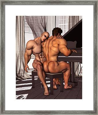 Gay Pianist Piano Art Digital Painting Musician Music Print Naked Bodybuilder Nude Male Framed Print by    Vykkurt
