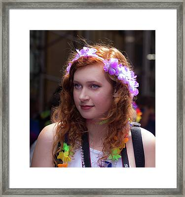 Gay Pride 2017 Nyc Female Marcher Flowered Head Band Framed Print by Robert Ullmann
