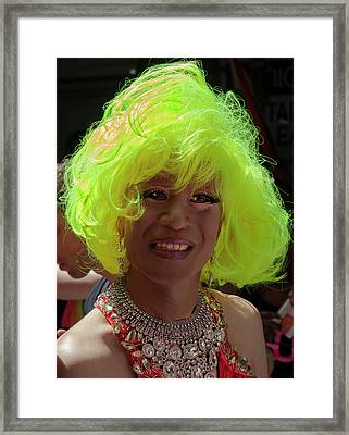 Gay Pride 2017 Nyc Green Wig Drag Queen  Framed Print by Robert Ullmann