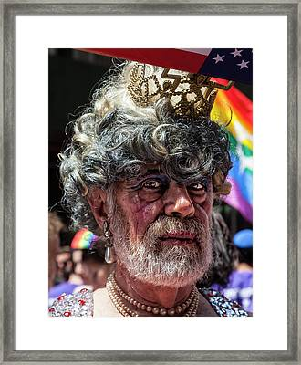 Gay Pride 2017 Nyc Grey Hair Framed Print by Robert Ullmann