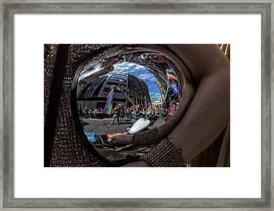 Gay Pride 2017 Nyc Motorcycle Helmet Framed Print by Robert Ullmann