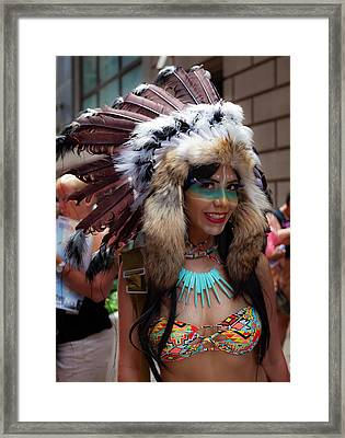 Gay Pride 2017 Nyc Native American Costume Framed Print by Robert Ullmann