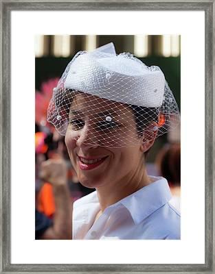 Gay Pride 2017 Nyc Pillbox Hat And Veil Framed Print by Robert Ullmann
