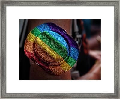 Gay Pride 2017 Nyc Rainbow Hat Framed Print by Robert Ullmann