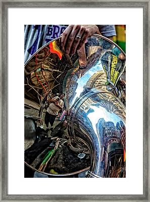 Gay Pride 2017 Nyc Reflections In A Tuba Framed Print by Robert Ullmann