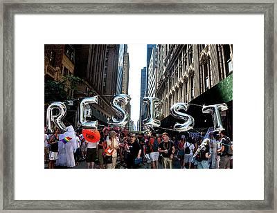Gay Pride 2017 Nyc Resist Sign Framed Print by Robert Ullmann