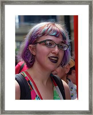 Gay Pride 2017 Nyc Woman In Multicolored Wig Framed Print by Robert Ullmann