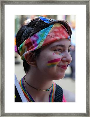 Gay Pride 2017 Nyc Young Marcher Framed Print by Robert Ullmann