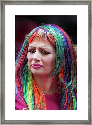 Gay Pride Parade Nyc 2016 Rainbow Hair Framed Print by Robert Ullmann