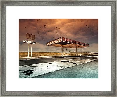 Gaz Bar Blues Framed Print