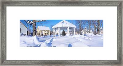 Gazebo And Town In Winter, Danville Framed Print