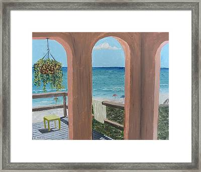 Gazebo At Blue Mountain Beach Framed Print by John Terry