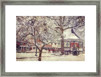 Gazebo In Snow - Milford New Hampshire Framed Print by Joann Vitali
