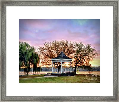 Framed Print featuring the photograph Gazebo Sunrise At Claytor Lake by Kerri Farley