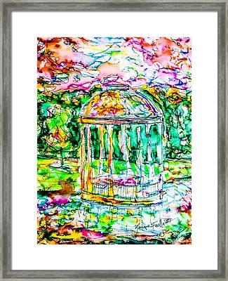 Gazebo Sunset Framed Print