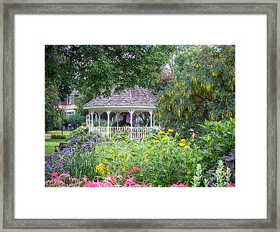 Gazebo With Summer Blooms Framed Print