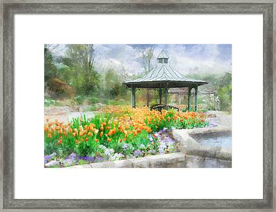 Framed Print featuring the digital art Gazebo With Tulips by Francesa Miller