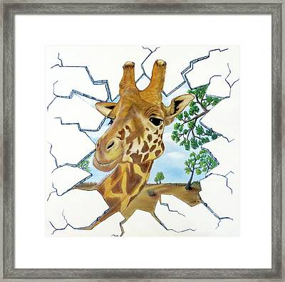 Framed Print featuring the painting Gazing Giraffe by Teresa Wing