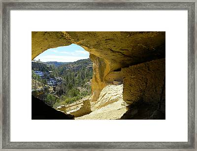 Gazing Out From Within The Gila Ruins  Framed Print by Jeff Swan