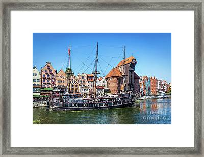 Gdansk Old Town And Famous Crane, Polish Zuraw. Motlawa River In Poland. Framed Print