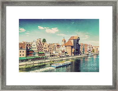 Gdansk Old Town And Famous Crane, Polish Zuraw. Motlawa River In Poland. Vintage Framed Print