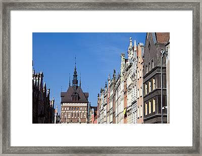 Gdansk Old Town Skyline In Poland Framed Print