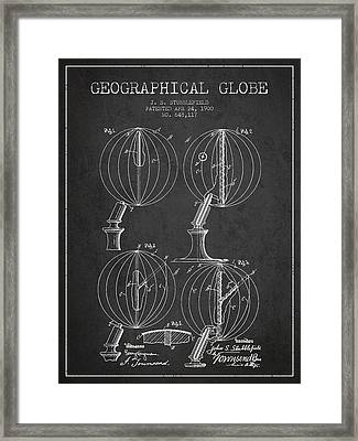 Geaographical Globe Patent From 1900 - Charcoal Framed Print by Aged Pixel