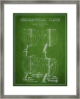 Geaographical Globe Patent From 1900 - Green Framed Print by Aged Pixel