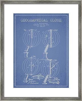 Geaographical Globe Patent From 1900 - Light Blue Framed Print by Aged Pixel