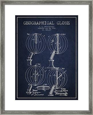 Geaographical Globe Patent From 1900 - Navy Blue Framed Print by Aged Pixel