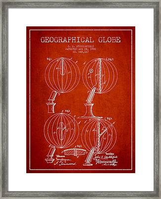 Geaographical Globe Patent From 1900 - Red Framed Print by Aged Pixel