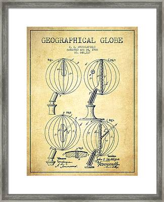 Geaographical Globe Patent From 1900 - Vintage Framed Print by Aged Pixel