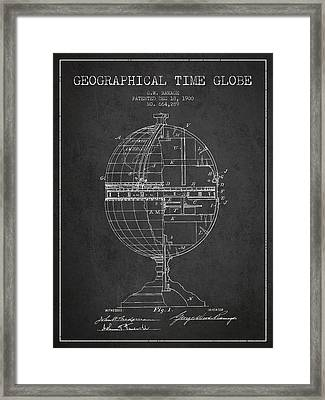 Geaographical Time Globe Patent From 1900 - Charcoal Framed Print by Aged Pixel