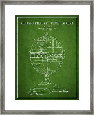 Geaographical Time Globe Patent From 1900 - Green Framed Print