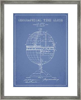 Geaographical Time Globe Patent From 1900 - Light Blue Framed Print