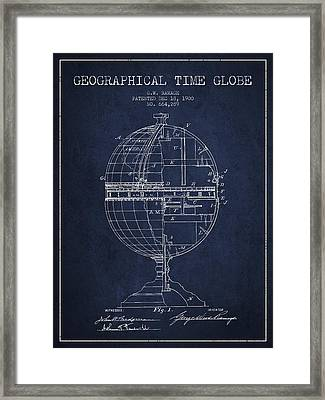 Geaographical Time Globe Patent From 1900 - Navy Blue Framed Print by Aged Pixel