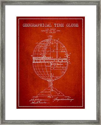 Geaographical Time Globe Patent From 1900 - Red Framed Print by Aged Pixel