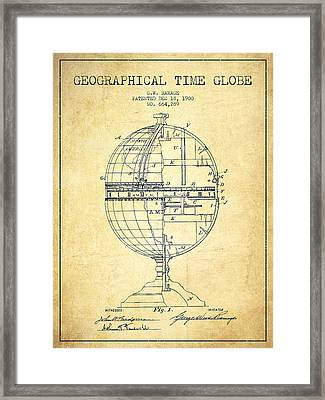 Geaographical Time Globe Patent From 1900 - Vintage Framed Print by Aged Pixel