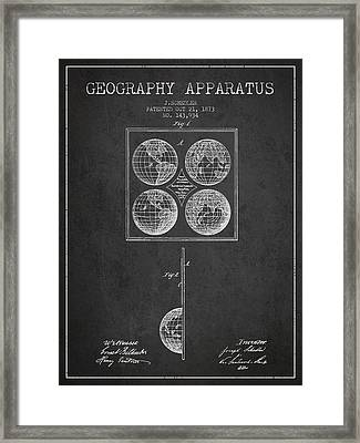 Geaography Apparatus Patent From 1873 - Charcoal Framed Print by Aged Pixel