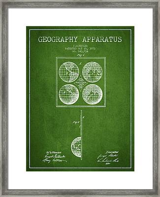 Geaography Apparatus Patent From 1873 - Green Framed Print by Aged Pixel
