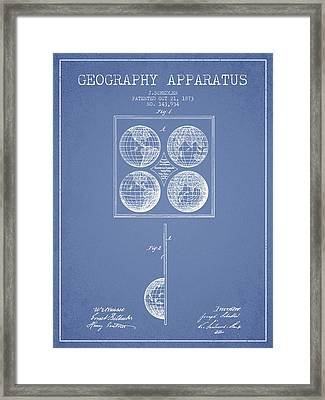 Geaography Apparatus Patent From 1873 - Light Blue Framed Print by Aged Pixel
